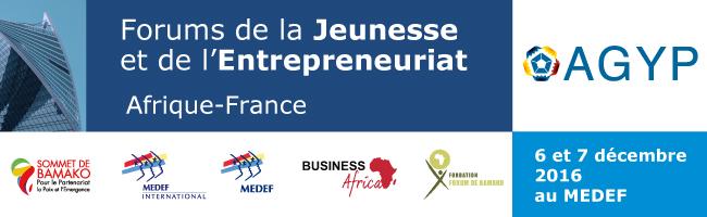 Forum de la Jeunesse et de l'Entrepreneuriat Afrique-France, Paris (France), 6 et 7 décembre 2016